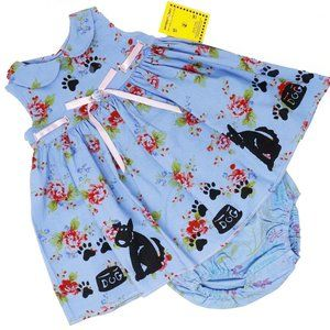 Hand Painted Puppy Paw Pals Sundress & Bloomers